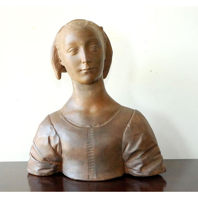 Clay Late 20th Century Renaissance Style Terra Cotta Bust of a Woman For Sale - Image 7 of 9