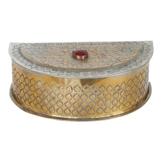 Jeweled Metal Trinket Box Made in India For Sale