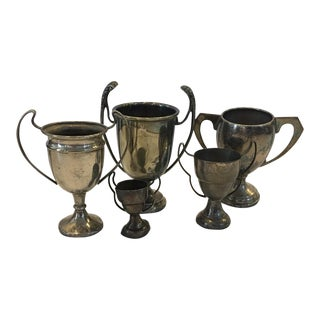1970s Americana English Metal Trophies - Set of 5 For Sale