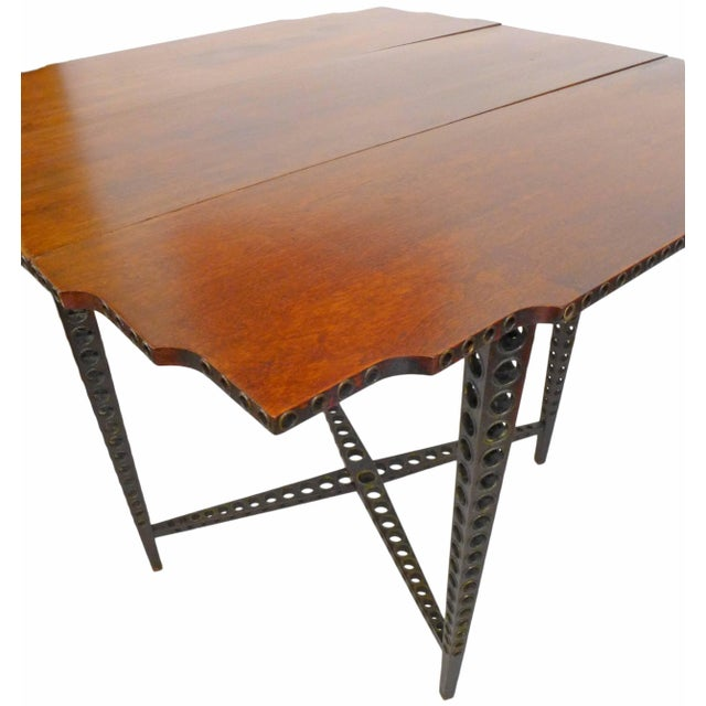 Early 20th Century Drop-Leaf Wood and Brass-Grommet Table For Sale In Los Angeles - Image 6 of 7