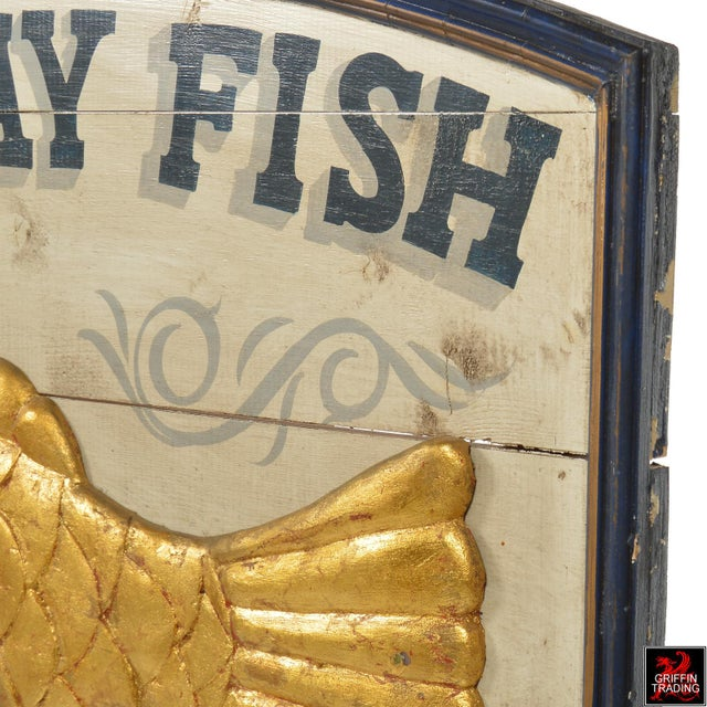 Gold Leaf East Bay Fish Packing Company Trade Sign For Sale - Image 7 of 11