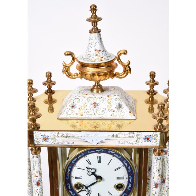 Metal Mid-20th Century Brass Frame Mantel Clock For Sale - Image 7 of 12