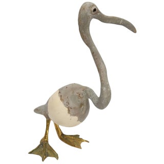 Artisan Sculpture of Heron With an Ostrich Egg Body For Sale