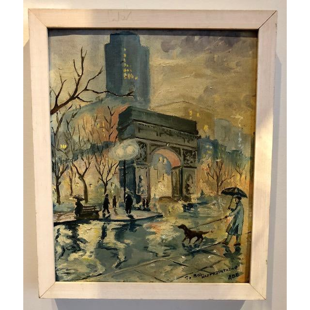 Wonderful painting of Washington Square Park in the rain. Inscription on painting wishes Bob a Happy Birthday, signed Abe....