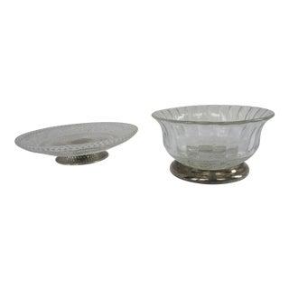 Vintage Silver & Glass Serving Pieces - 2 - Pieces For Sale