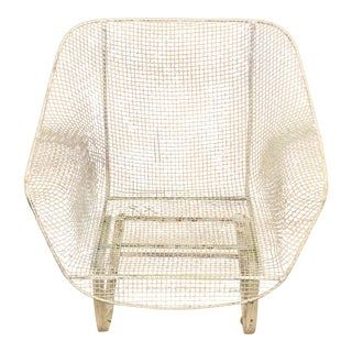1950s Vintage Russell Woodard Sculptura Metal Mesh Wrought Iron Bouncer Lounge Chair For Sale