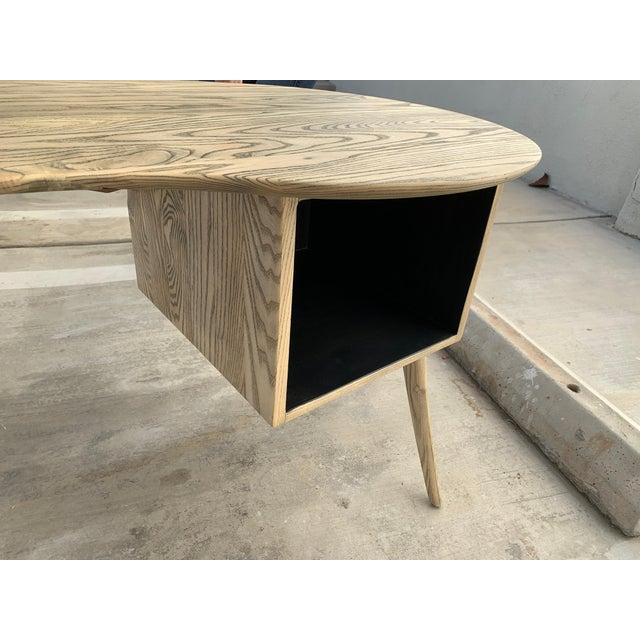 Kidney Biomorphic Shaped Oak Desk For Sale - Image 10 of 13