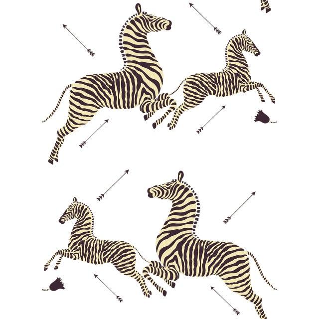 Red by Scalamandre Peel & Stick Wallpaper, Zebras, Safari Brown For Sale