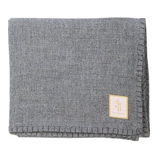 Stick & Ball Heather Gray Alpaca Throw Blanket With Charcoal Stitch For Sale