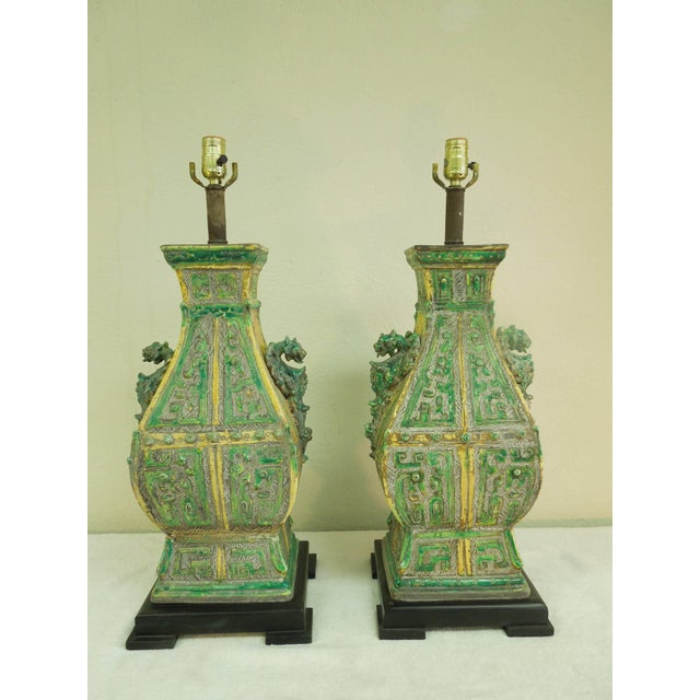 Wood Ceramic Vintage Chinoiserie Designer Lamps - a Pair For Sale - Image 7 of 11