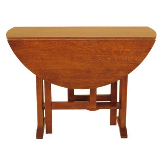 Stickley Drop Leaf Round Mission Oak Table