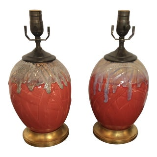 Coral Ceramic Lamps - a Pair For Sale