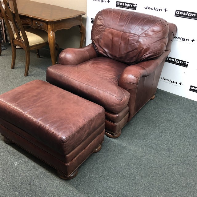 Admirable Whittmore Sherrill Leather Club Chair Ottoman Alphanode Cool Chair Designs And Ideas Alphanodeonline