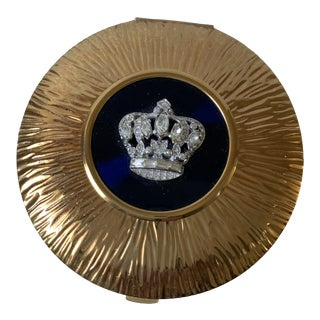 Evans Goldtone Brutalist Compact Mirror With Rhinestone Crown For Sale
