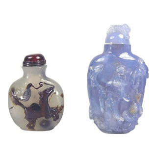 Antique Chinese Agate Snuff Bottles - A Pair For Sale