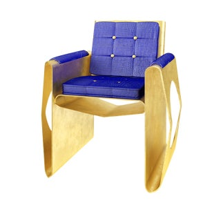 21st Century Contemporary Hand Made Gold Leaf & Crocodile Lounge Chair For Sale