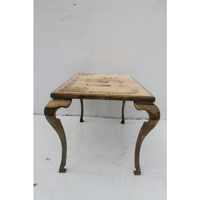 Vintage Brass & Ceramic Tile Top Coffee Table
