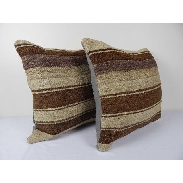 "Mid-Century Modern Set of Two Turkish Hemp Kilim Pillow 18"" X 18"" For Sale - Image 3 of 6"
