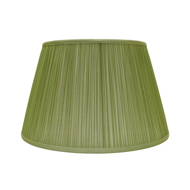 """Traditional Shirred Silk Lamp Shade 12"""", Avocado For Sale - Image 3 of 3"""