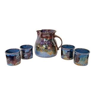 Vintage 1980s Blue Violet Art Pottery Pitcher & Cups Set - 5 Piece Set For Sale