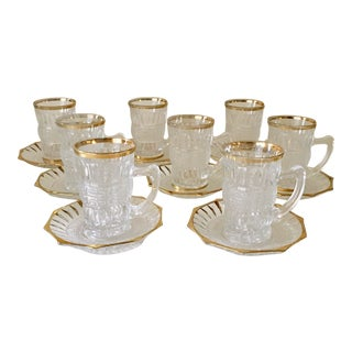 Vintage Pressed Glass Gold Trim Coffee Cups & Saucers - Service for 8