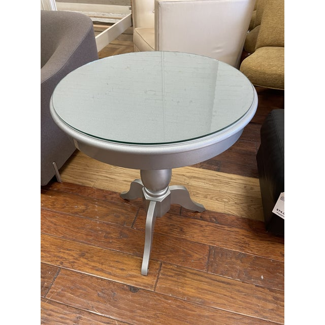 Shabby Chic Nordstroms Silver Finish Pedestal Side Table + Glass Top For Sale - Image 3 of 10