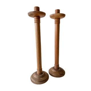 1940s Antique Vintage Arts & Crafts Turned Oak Candlesticks - a Pair For Sale