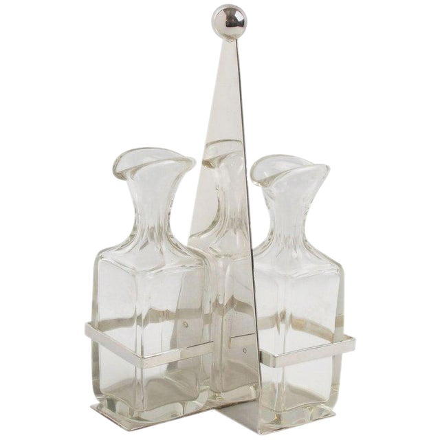 German Quist Art Deco Silver Plate and Crystal Oil and Vinegar Cruet Table Set - Image 1 of 9