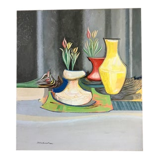 Stylized Floral Still Life Oil on Canvas by Niels Michaelsen For Sale