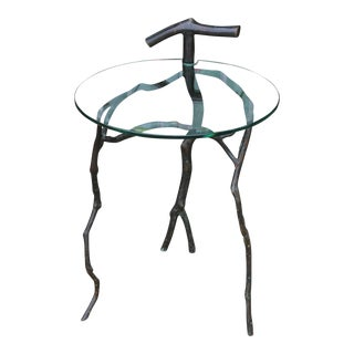 "Vintage Bronze ""Roots"" Sidetable w/ Glass top"