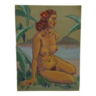 "1947 Mid-Century Modern Original Painting on Paper, ""Pink Flower in the Hair - Nude"" by Tom Sturges Jr"