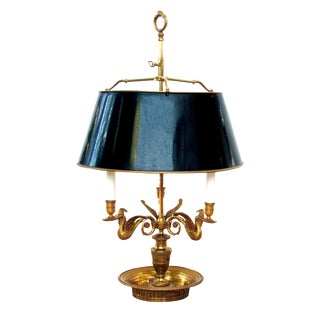 Good Quality French Empire Style Gilt Bronze Bouillotte Lamp With Tole Shade For Sale