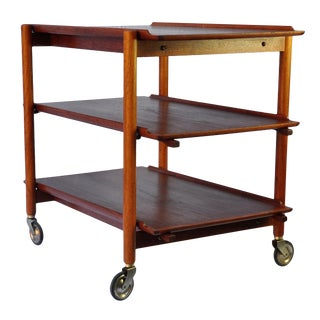 1960s Teak Bar Cart by Poul Hundevad For Sale