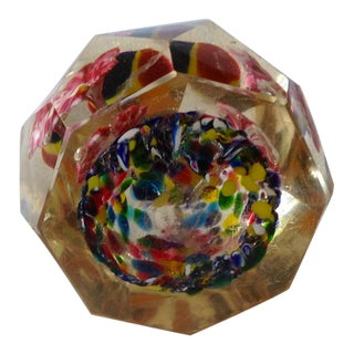 Mid Century Modern Millefiori Multi-Faceted Glass Paperweight For Sale