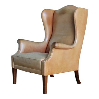 1950s Vintage Danish Leather Wingback Chair For Sale