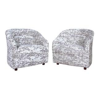 Vintage Ward Bennett Club Chairs in Romo Velvet For Sale