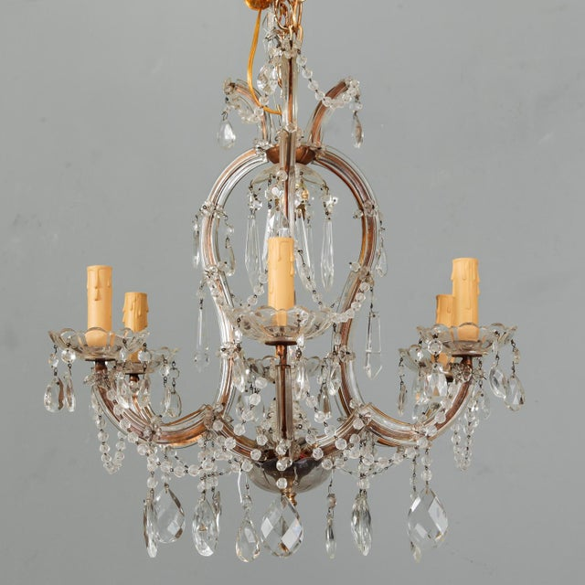 Heavily Beaded Small Six Light Maria Theresa Chandelier For Sale - Image 11 of 11