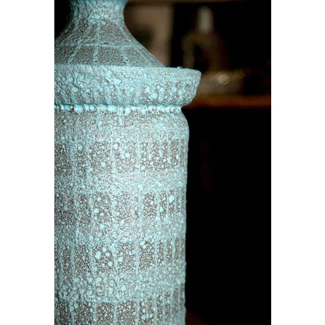 "1960s Vintage Pale Blue ""Lava"" Ceramic Lamp For Sale - Image 11 of 22"
