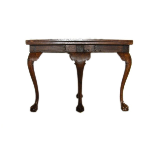 Traditional English Walnut Demi-Lune Table For Sale - Image 3 of 6
