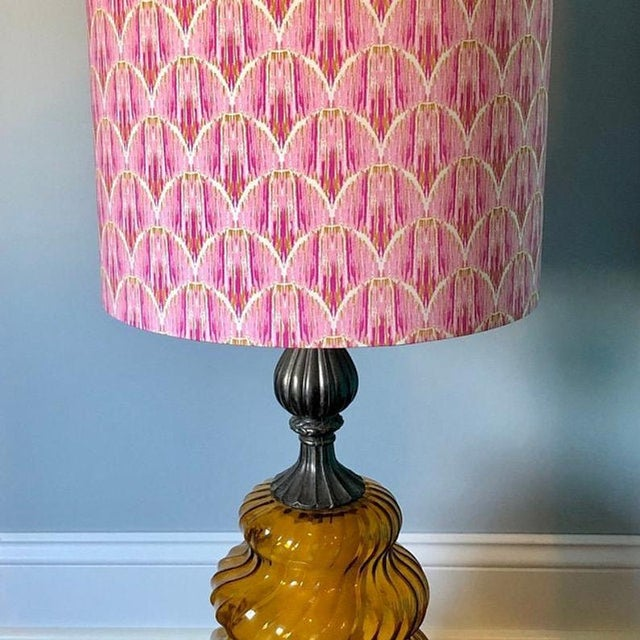 - New, custom, handcrafted lampshade - Fabric: Pink Ikat Fabric. Colors include pink, white, and gold. - Lining: White...