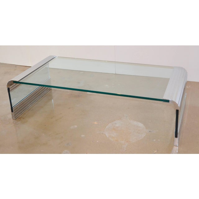 Pace Collection Large Chrome & Glass Leon Rosen Pace Collection Waterfall Cocktail Table 1970's For Sale - Image 4 of 11