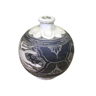Chinese Cizhou Ware Ceramic Black Underglaze Flower Horse Round Vase