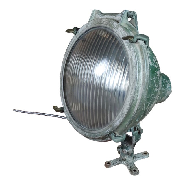 Crouse-Hinds -1930s Vintage Nautical & Industrial Spot Light For Sale
