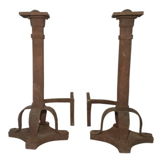 Early 20th Century Antique Hand Forged Craftsman Andirons- A Pair For Sale