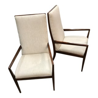 Vintage Mid Century Danish Arm Chairs- A Pair For Sale
