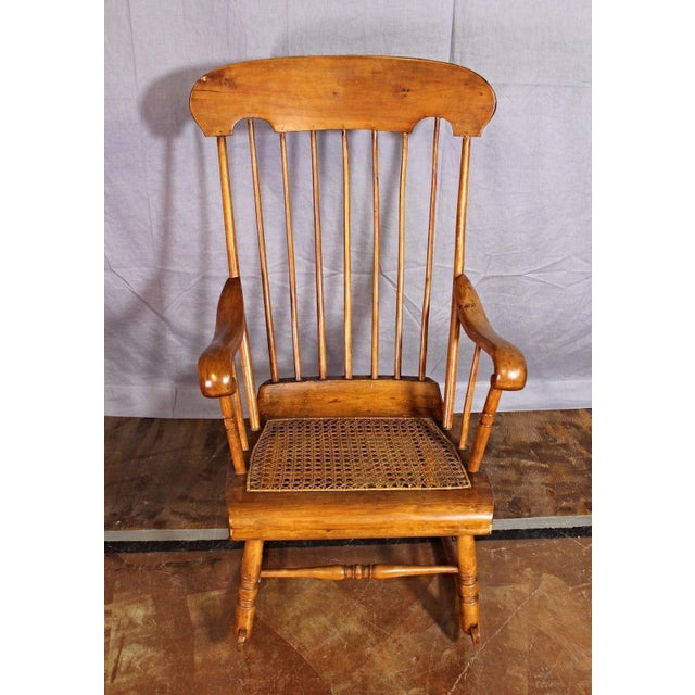 Spindle Back Caned Seat Rocking Chair For Sale - Image 9 of 11