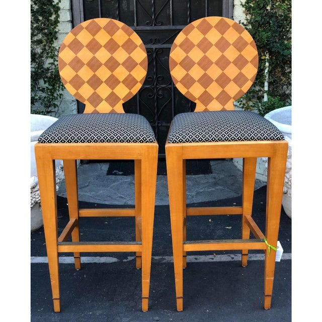 1990s Donghia - Pair of Paris Hall Modern Designer Bar Stools by Angelo Donghia For Sale - Image 5 of 6