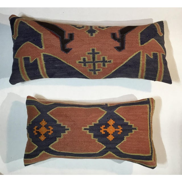 1960s 1960s Mediterranean Kazak Cotton Pillows - a Pair For Sale - Image 5 of 13