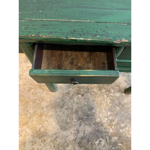 Green Vintage Asian Console Table in Green For Sale - Image 8 of 12