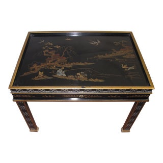 1980s Chinoiserie Drexel Heritage Black & Gold Side Table For Sale
